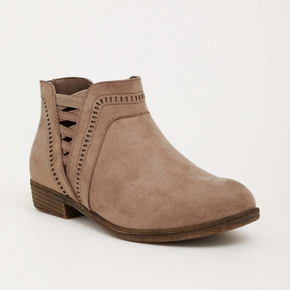 torrid Shoes - Torrid Taupe Side Strap Ankle Bootie 8.5W